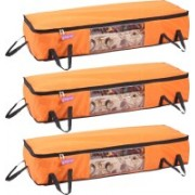Pretty Krafts Blanket Cover with Side Handles Long Underbed Storage Bag, Storage Organizer, F1523N_Orange3(Orange)