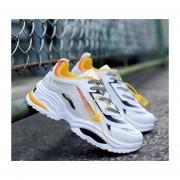 Calzado casual estudiante correr zapatos de hombre amarillo y blanco