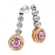 Zilveren Oorhangers Bridal Rosé-goud plated Roze zirkonia Rond 808.0347.00