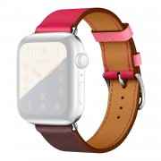 PU Leather Watch Band Adjustable Size for Apple Watch Series 5 4 40mm, Series 3 / 2 / 1 38mm - Rose / Wine Red