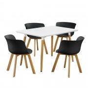 [en.casa]® Dizajnový jedálenský stôl - 120 x 70 cm - biely so 4 čiernymi stoličkami