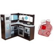KidKraft Grand Gourmet Uptown Espresso Kitchen & Metal Cookware w/ Red Chef Set