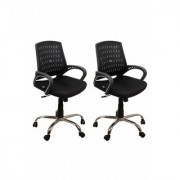 DZYN Furnitures Fabric Office Executive Chair(Black Set of 2)