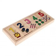 Easydeal Wooden Number Counting Matching Puzzle Toy Preschool Educational Learning Gifts for Kids