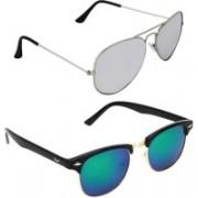 Royalmede Aviator, Clubmaster Sunglasses(Silver, Blue)