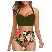 Mkcether Traje de baño de dos piezas con estampado floral clásico de talle alto para mujer, Verde, S
