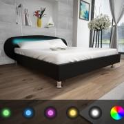 vidaXL Черно легло от изкуствена кожа и LED лента, 140 x 200 см