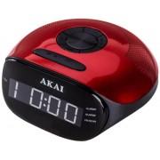 Radio cu ceas Akai ACR-267, radio FM si AM, dual alarm, Bluetooth si mufa auxiliar (Negru/Rosu)