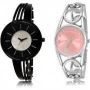 The Shopoholic Black Silver Pink Combo New Stylist Latest Black And Silver And Pink Dial Analog Watch For Girls Womens Designer Watch
