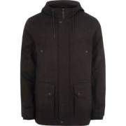River Island Mens Big and Tall Black hooded borg lined jacket