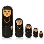 """Toolart 5pc Muslim Lady Nesting Doll -The Nativity Family Hand Painted Hand Made Wooden Nesting Dolls - Set of 5 Dolls from 6"""" Tall"""