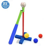 CELEMOON [Kids T-Ball Set Toy] Kids Foam T-Ball/Baseball Set Toy, 3 Different Sized Balls, Carry/Organize Bag Included, for Kids Over 3 Years Old, Blu