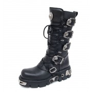 stivali in pelle - 5-Buckle Boots (402-S1) Black - NEW ROCK - M.402-S1
