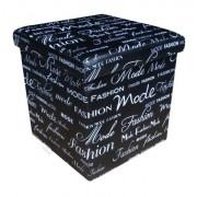 Design tárolós ülőke, 38x38, Fashion, fekete