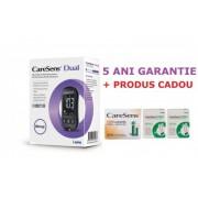 CareSens Dual glucometru (glicemie si cetonemie) + 100 teste glicemie + 100 ace, testare rapida si precisa, nu necesita codare + CADOU Gentuta model Craciun