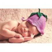 EJA Art Cute-Baby-Purple-Cap-hd Without Frame Paper Poster Size 30X45 cms (With 12 Butterfly Free)