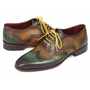 Paul Parkman Wingtip Hand Painted Calfskin Oxford Shoes Green 228-GRN