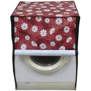 Floral Red Waterproof & Dustproof Washing Machine Cover For Front Load Videocon Careen Elite 6.5 Kg Washing Machine