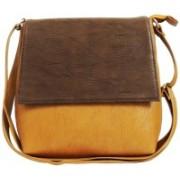 AANIA HAUTE Women Beige, Brown PU, Cotton Sling Bag