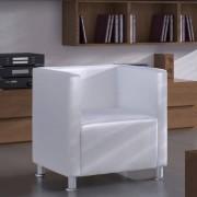 vidaXL Poltrona com design cubo couro artificial branco