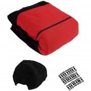 ER 9pcs Negro+rojo Fundas De Asiento De Coche Conjunto Protector Cuidado Mat