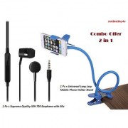 Combo Set of Universal Long Lazy Mobile Phone Holder Stand With Handsfree MH750