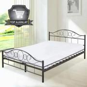 Fém ágykeret ágyráccsal 160*200 cm - fekete