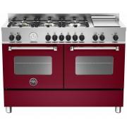 Bertazzoni MAS1206 Gasspis 120 cm, 2 ugnar, 6 brännare + elektrisk tepanyaki, Vinröd