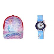 Summer Combo : Kids Cap and Watch( designs and colors may vary) 3 - 10 years: with 1 free googles (Frozen)