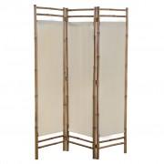 vidaXL Сгъваем 3-панелен параван за стая, бамбук и текстил, 120 cм