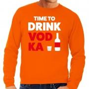 Shoppartners Time to Drink Vodka tekst sweater oranje voor heren