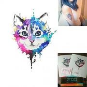 Animals Temporary Tattoos-Premium Watercolor Kitten Cats Tattoos Paper(1 Pcs/2 Sheets)-Temporary Jewelry Fake Tattoos-Fashionable Temporary Tattoos Stickers-Wrist and Arm Bands Waterproof Tattoo by ZiZi Tattoo