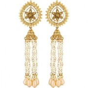 Asmitta Royal Pear Shape Gold Plated Dangle Earrings For Women