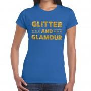 Bellatio Decorations Glitter and Glamour fun t-shirt blauw voor dames 2XL - Feestshirts