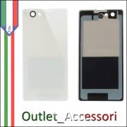 Copribatteria Vetrino Vetro Sony Xperia Z1 D5503 Compact Mini Bianco Bianca Biadesivo