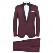 vidaXL Мъжки смокинг костюм от 2 части, 52 размер, бордо