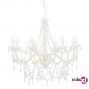 vidaXL Luster s perlama bijeli 8 žarulja E14