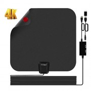 YYinno TV Antenna Indoor,HDTV Antenna TV Digital HD 4K,80 Miles Range MAX,with Powerful Amplifier Signal Booster and 16.5ft Coax Cable,2018 Newest