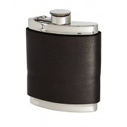 Wentworth Pewter- Black Raven Leather Pewter Kidney Flask,Hip Flask, Spirit Flask, 6oz capacity, with captive top