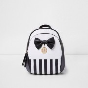 River Island Girls Black and white stripe bow back pack (One Size)