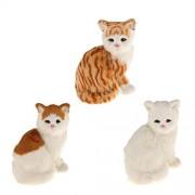 ELECTROPRIME Home Decor Plush Sitting Cat Statue Toy Girls Christmas Gift White Yellow