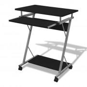 vidaXL Számítógépes íróasztal kihuzható tálcás Fekete