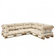 [en.casa]® Paletový interiérový nábytok - model E - béžový