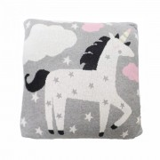 Perna decor bumbac Unicorn Gri Roz