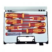 Extol Premium csavarhúzó klt. szigetelt 1000V, 7db ; (-) 2,5, 4, 5,5, (+) PH (0,1,2), fáziskereső, műanyag kofferban 53087