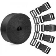 DIY Crafts Buckle Set & Tri-Glide Adjustment Clips with Webbing Ribbon( Pack of 15 Pcs) Luggage Strap(Black)