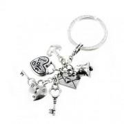 portachiavi in argento love- opera collection - cuore e lucchetto