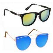Elgator Rectangular Sunglasses(Yellow, Blue)