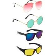 Elligator Aviator, Round, Wayfarer Sunglasses(Pink, Green, Blue, Yellow)