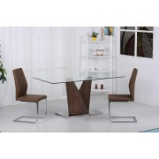 Contemporary Glass Top Dining Table With Walnut Base - Dining Table With 6 Chairs